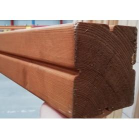 90x90 Høvlet Stolper med riller gran grundet brun