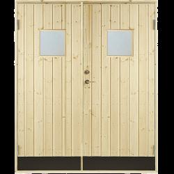 PLUS Dobbelt udhusdør panel m/vindue inkl. karm 151,2x197,8 - 151,2x187,8 cm