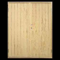 PLUS Dobbelt udhusdør plywood inkl. karm - HU - 151,2 x 197,8 cm