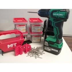 MFT + HIKOKI TILBUD Monteringsværktøj incl. 1000 skruer & Hikoki Skruemaskine 18V incl. 2x5,0 Ah batteriere